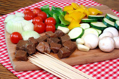 Meat cubes and vegetables Royalty Free Stock Images