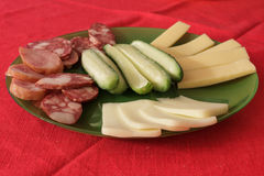 Meat, cucumber and cheese snacks Royalty Free Stock Image