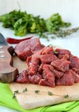 Meat is cut into pieces Stock Images