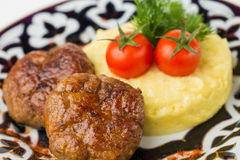 Meat cutlet with garnish Stock Photo