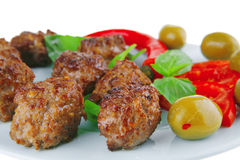 Meat cutlet on green leaf. With tomatoes stock image