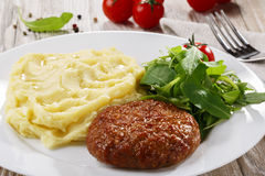 Meat cutlet. With mashed potatoes stock photo