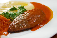Meat cutlet with mashed potatoes. Close up stock photography