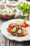 Meat cutlets with cheese. Zrazy cheese Stock Image