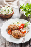 Meat cutlets with cheese. Zrazy cheese Stock Images