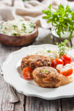 Meat cutlets with cheese. Zrazy cheese Royalty Free Stock Photography