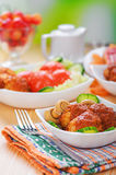 Meat cutlets with cucumber Royalty Free Stock Photos