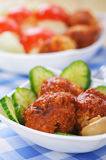 Meat cutlets with cucumber Stock Photography