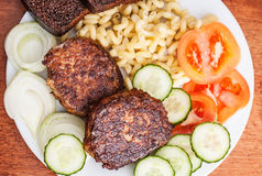 Meat cutlets with garnish Stock Image