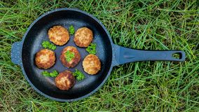 Meat cutlets in a pan royalty free stock images