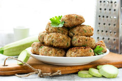 Meat cutlets with zucchini, homemade food recipe of minced meat Royalty Free Stock Images