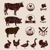 Meat cuts, butcher retro emblems and labels set Royalty Free Stock Images