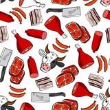 Meat cuts seamless pattern for butcher shop design Stock Photography