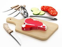Meat cutting board, knives and vegetable slices. 3D illustration.  stock illustration