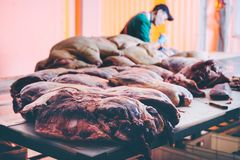 Meat cutting factory. Beef cut raw production royalty free stock photos