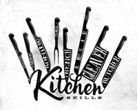Meat cutting knifes poster chalk Royalty Free Stock Photos