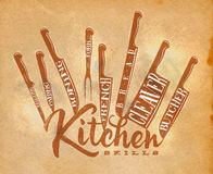 Meat cutting knifes poster craft Royalty Free Stock Photos