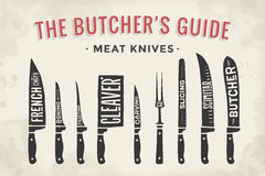 Meat cutting knives set. Poster Butcher diagram and scheme Stock Images