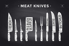 Meat cutting knives set. Poster Butcher diagram and scheme. Meat Knife. Set of butcher meat knives for butcher shop and design butcher themes. Vintage Royalty Free Stock Photos