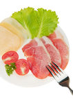 Meat cutting with vegetables and cheese Royalty Free Stock Image
