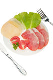 Meat cutting with vegetables and cheese Royalty Free Stock Photography