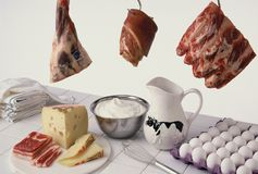 Meat and dairy Royalty Free Stock Photo