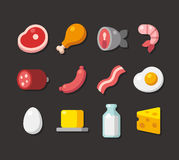 Meat and dairy flat icons. Flat cartoon icons of meat, seafood and dairy products Stock Image