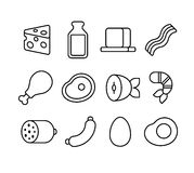 Meat and dairy line icons Stock Image
