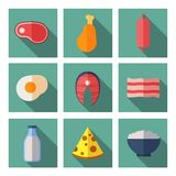 Meat and dairy products containing animal protein. Flat vector icons set Stock Photography