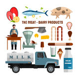 Meat and dairy products vector objects on white background. Food design elements, icons in flat style. vector illustration