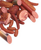 Meat Delicacies. Ham, Sausage, Salami, Hot dogs, Small sausages stock image