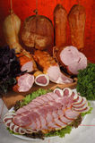Meat delicacies #2. Sliced meat delicacies on a plate stock photos