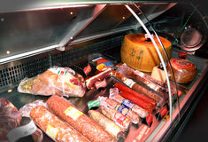 Meat delicacies and cheeses Stock Photography