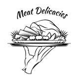 Meat Delicacies menu design element Royalty Free Stock Image