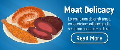 Meat delicacy concept banner, isometric style. Meat delicacy concept banner. Isometric banner of meat delicacy vector concept for web, giftcard and postcard royalty free illustration