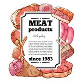 Meat delicatessen product banner with copy space. Meat delicatessen banner. Bright advertising campaign banner for cold cuts, luncheon meats, cooked, sliced royalty free illustration