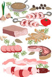 Meat delicatessen.Illustration.Pattern. Deli meats, sausages, ham, barbecue Royalty Free Stock Images