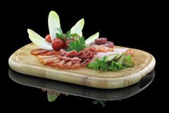 Meat delicatessen plate Royalty Free Stock Images
