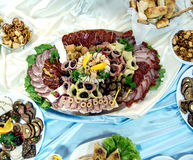 Meat delicatessen plate Stock Photos