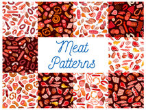 Meat delicatessen, sausages seamless patterns Stock Images