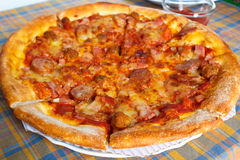 Meat deluxe pizza. Stock Photography