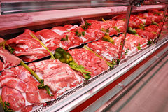 Meat department. Shelf with meat products in a new supermarket in Rome (Italy Stock Image