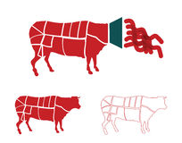 Meat diagrams Royalty Free Stock Images