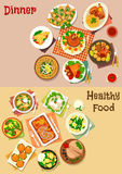 Meat dinner dishes with snacks icon set design Stock Photos
