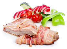 Meat dinner. Hearty meat diiner. Pork bacon wrapped Stock Photo