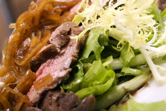 Meat dish. Meat served with salad and onion royalty free stock images