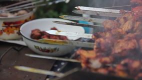 Meat in dish after grill stock video footage