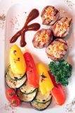 Meat Dish-grill with Stewed Vegetable royalty free stock photo