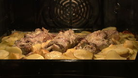 Meat dish in the oven stock footage