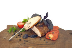 Meat dish with vegetables overwhite Stock Images